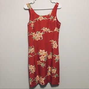 Tommy Bahama | Red Floral Print Knee Length Dress